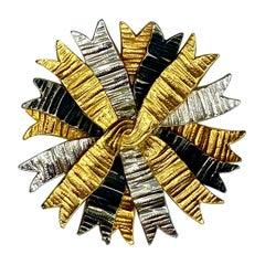 DeNicola 1960s Ribbon Spray Brooch in Patinated Black, Silver & Gold