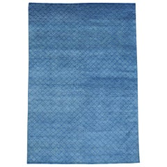 Denim Blue Tone on Tone Wool and Silk Hand Knotted Oriental Rug