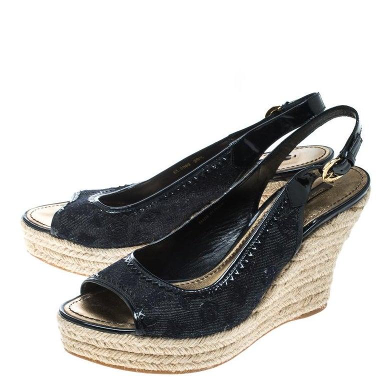 d40c7e38cda1 Denim Monogram and Patent Leather Espadrilles Wedge Slingback Sandals Size  39.5 For Sale 2