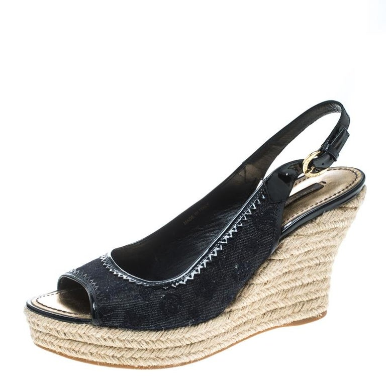 f4f00795b31b Denim Monogram and Patent Leather Espadrilles Wedge Slingback Sandals Size  39.5 For Sale