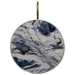 Denim Pattern Sconce Lamps Handmade Painting Velvet and Natural Brass Blue Color