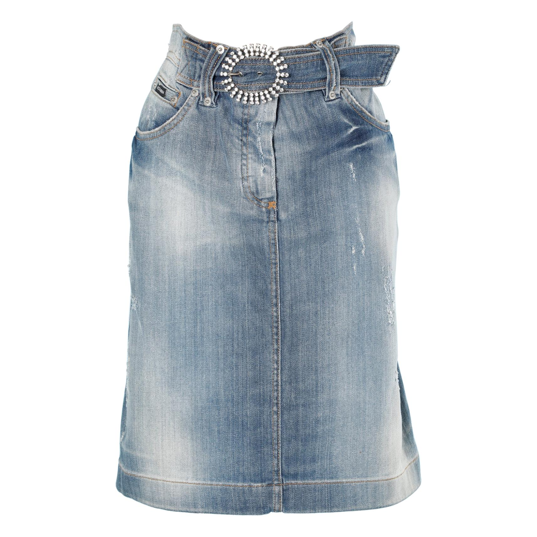 Denim skirt with rhinestone belt buckle Dolce & Gabbana