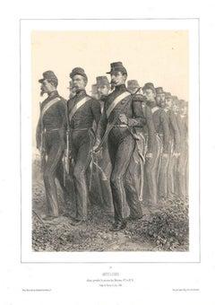 Artilleurs - Original Lithograph by D.A.M. Raffet - 1858