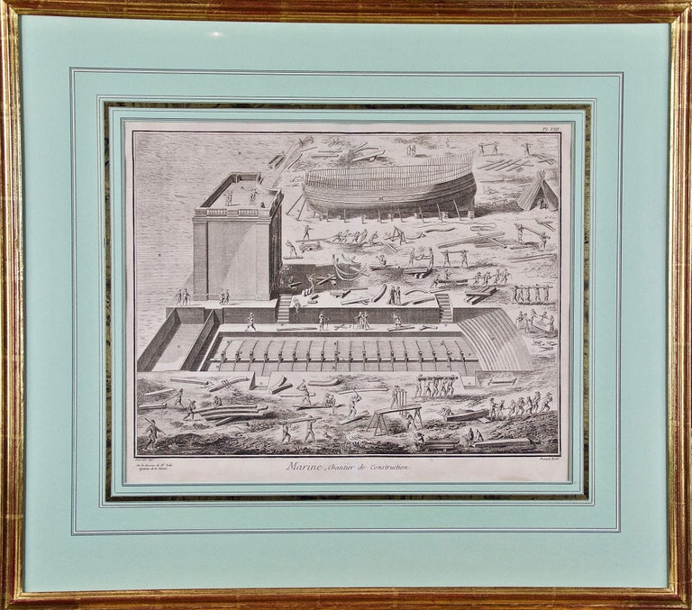 """Denis Diderot Landscape Print - """"Marine Chantier de Construction"""": 18th C. Engraving of Shipbuilding by Diderot"""