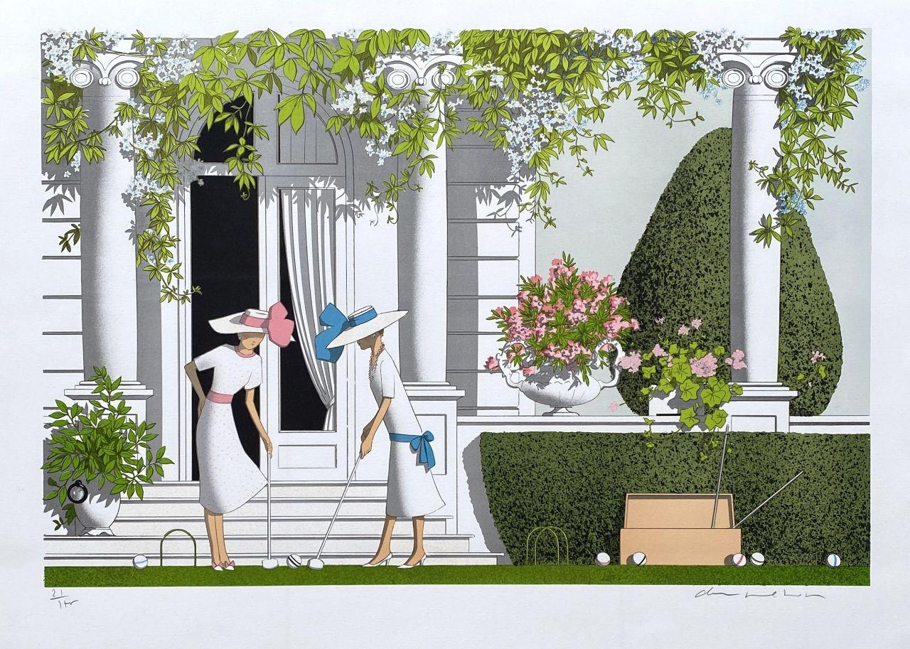 Elegant Women Playing Cricket - Original Lithograph Handsigned Numbered