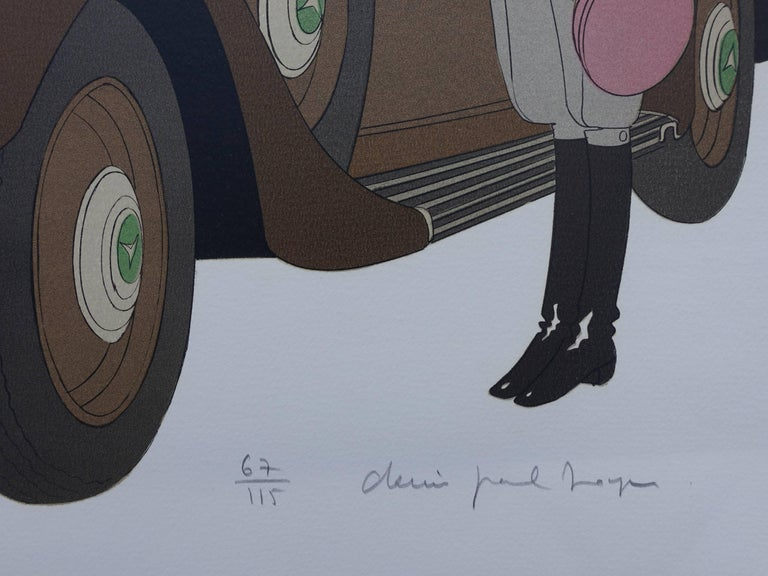 Hotel: Mercedes Cabriolet T290 & Palais Mediterranee - Signed lithograph - 115ex - Print by Denis Paul Noyer