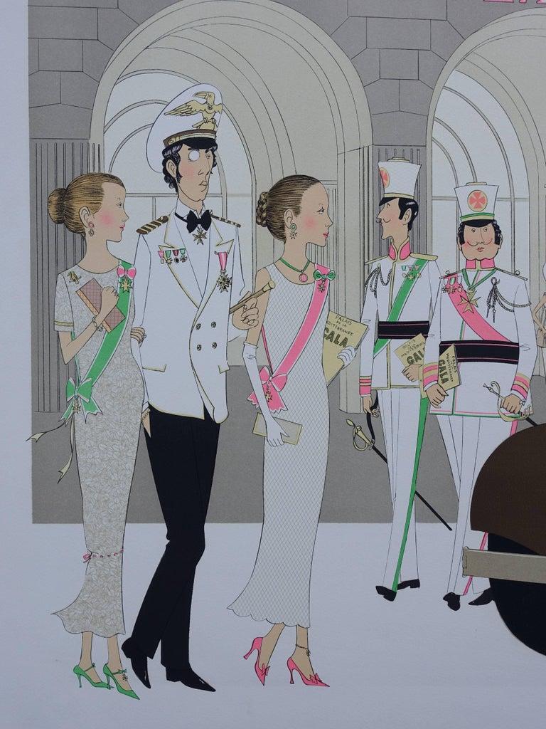Hotel: Mercedes Cabriolet T290 & Palais Mediterranee - Signed lithograph - 115ex - Art Nouveau Print by Denis Paul Noyer