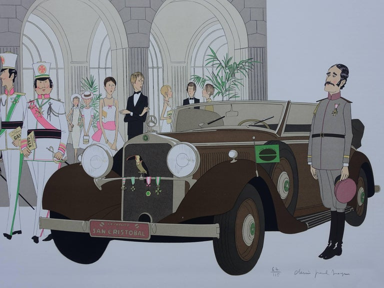 Hotel: Mercedes Cabriolet T290 & Palais Mediterranee - Signed lithograph - 115ex - Gray Figurative Print by Denis Paul Noyer