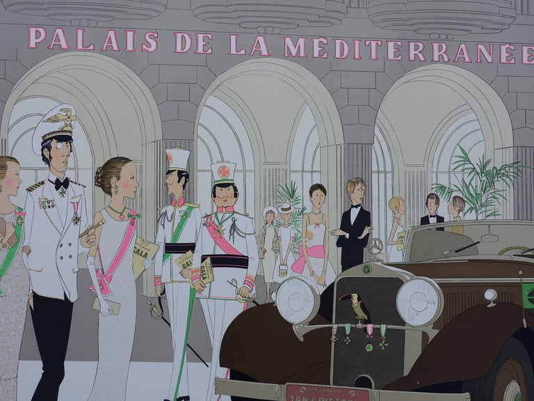 Denis-Paul NOYER Hotel: Mercedes Cabriolet T290 & Palais de la Mediterranee  Original lithograph, c. 1980 Handsigned in pencil Numbered / 115 copies On Arches vellum 75 x 105 cm (c. 30 x 42 in)  INFORMATION : Palais de la Mediterranee is a well
