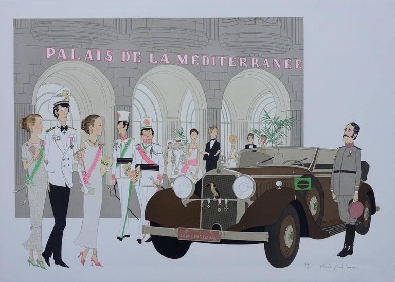 Denis Paul Noyer Figurative Print - Hotel: Mercedes Cabriolet T290 & Palais Mediterranee - Signed lithograph - 115ex