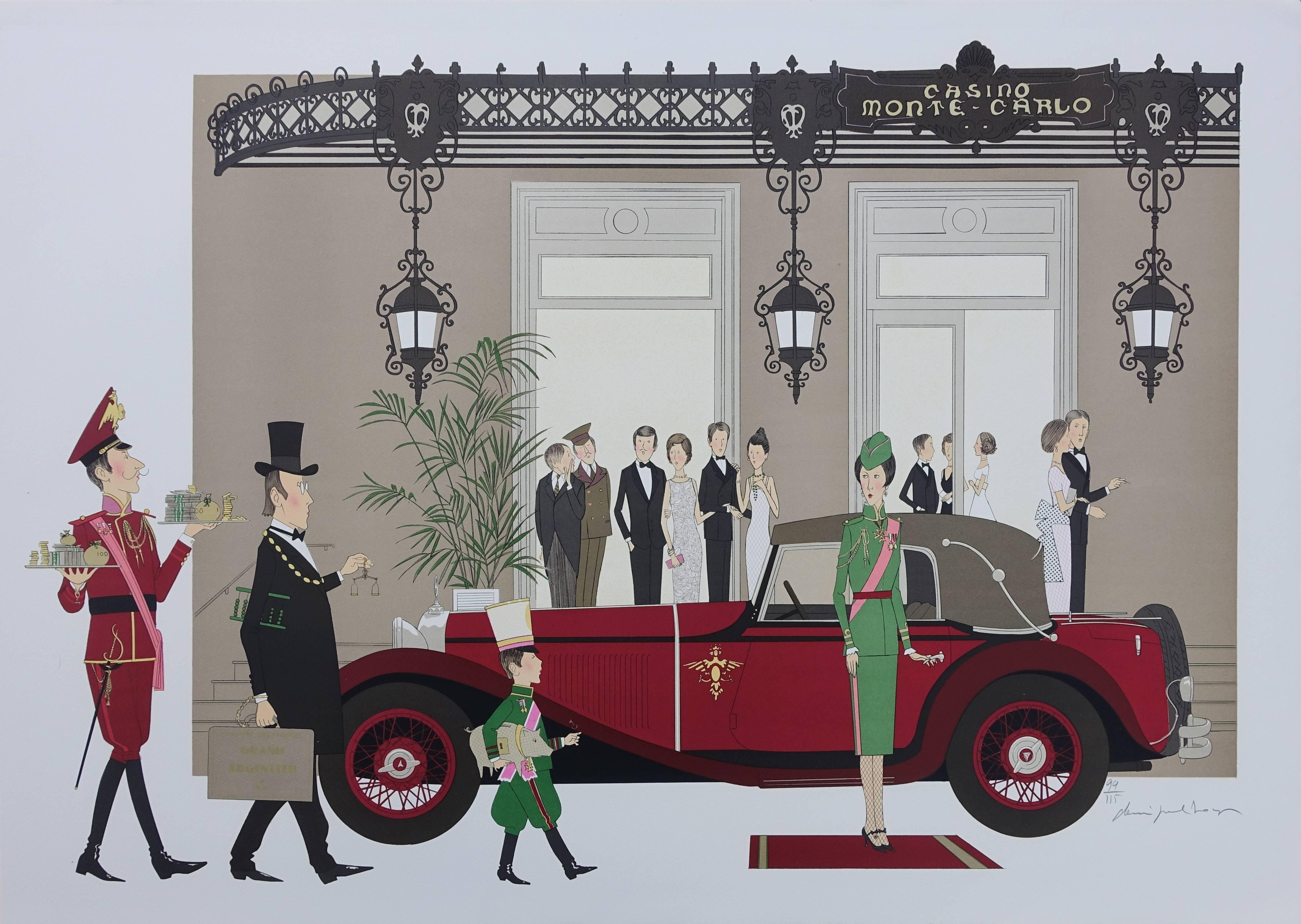 Hotel : Mercedes Mannheim 370 & Casino of Monte Carlo - Signed Lithograph