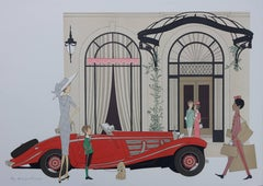 Hotel : Mercedes Roadster 540K & Plaza Athenee (Paris) - Signed lithograph