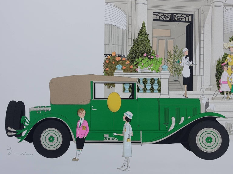Mercedes 370 and Hotel Gonnet - Signed lithograph - 115ex - Gray Figurative Print by Denis Paul Noyer