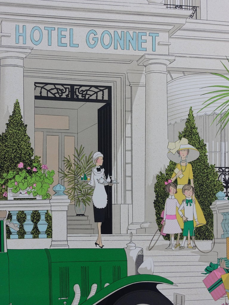 Denis-Paul NOYER Hotel : Mercedes 370 and Hotel Gonnet  Original lithograph, c. 1980 Handsigned in pencil Numbered / 115 copies On Arches vellum 75 x 105 cm (c. 30 x 42 in)  INFORMATION : Hotel Gonnet is a well known 5* hotel / palace located in