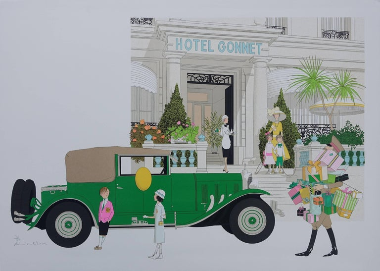Denis Paul Noyer Figurative Print - Mercedes 370 and Hotel Gonnet - Signed lithograph - 115ex