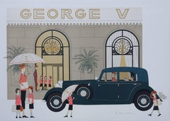 Mercedes Mannheim 370K et GEORGE V - Original handsigned lithograph - 115ex
