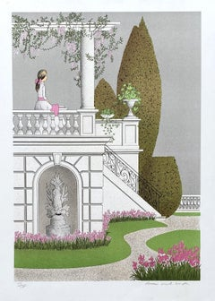 Young Girl in the Garden - Original Lithograph Handsigned Numbered