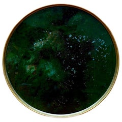 Denis Perrollaz Onyx Plate in Mixed-Media on Brass