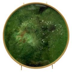 Denis Perrollaz Onyx Plate in Mixed-Media on Brass