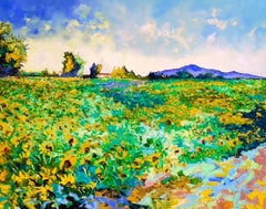 Ambience of Joy - abstract colourful floral field painting modern contemporary