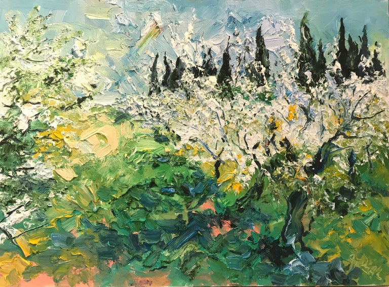 Denis Ribas  Abstract Painting - Apple Garden in Spring original abstract landscape painting