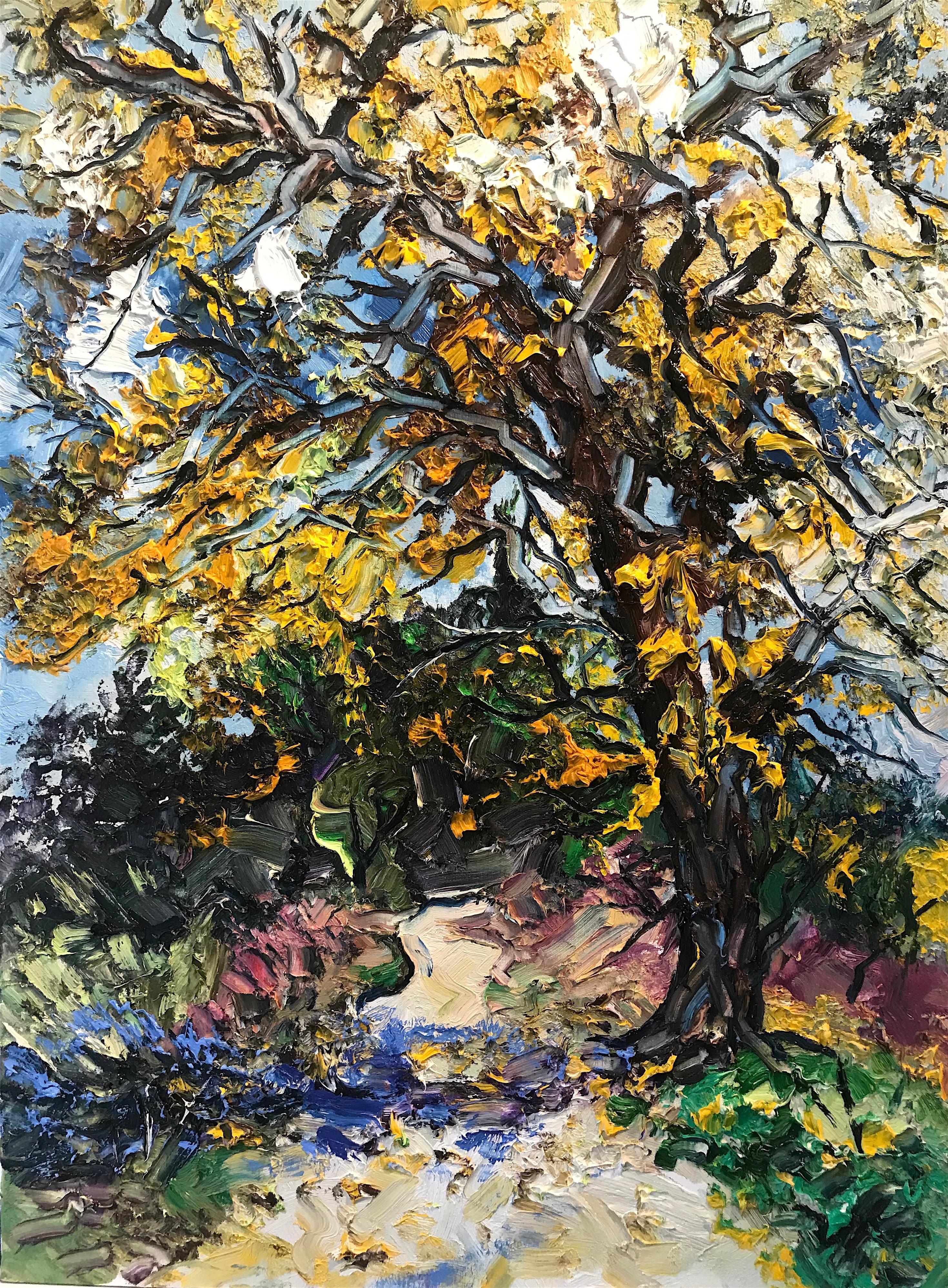 Autumn Tree - original seasonal landscape forest colourful painting Contemporary