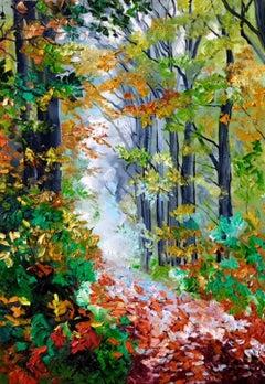 Autumnal Leaves - landscape seasonal impasto oil painting modern contemporary
