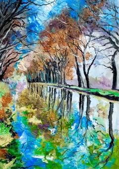 Blue Sky in Canal Du Midi - original landscape painting contemporary art 21st C