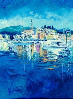 Blue Waters - original landscape countryside harbour oil artwork contemporary