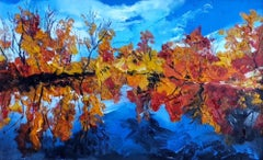 Camargue Blue - landscape colourful water painting modern contemporary art