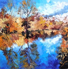 Camargue in Autumn - original landscape oil painting modern contemporary art
