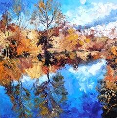 Camargue in Autumn - river landscape countryside artwork modern contemporary