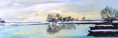 Camargue - landscape lake oil painting modern contemporary art 21st Century