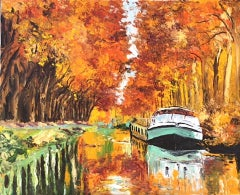 Canal in Mid-Autumn - landscape city water harbour boats painting contemporary