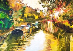 Canal in Summer - landscape abstract oil painting modern contemporary art