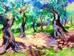 Colourful Warmth - original landscape oil paint contemporary art 21st C nature