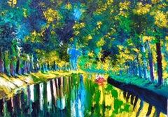 Colours in Canal Du Midi - original landscape water artwork contemporary 21st C