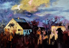 Cottage in the Evening Light - nature painting contemporary Modern landscape