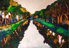 Fauvism in Canal Du Midi - nature landscape painting contemporary art 21st C