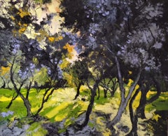 Field of Young Olive-Trees - landscape colourful painting modern fauvism