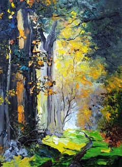 Forest II - landscape colourful nature impasto painting modern contemporary