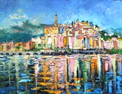 Harbour Views - landscape abstract cityscape impasto oil painting contemporary