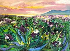 Iris Field II - original floral landscape abstract painting modern contemporary