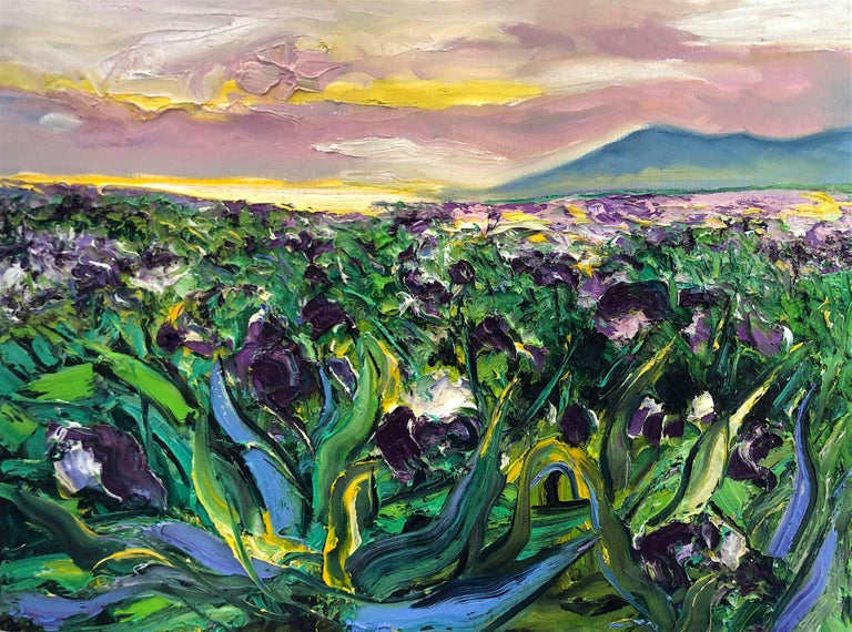 Denis Ribas  Abstract Painting - Iris Field original abstract landscape painting Contemporary Art 21st Century