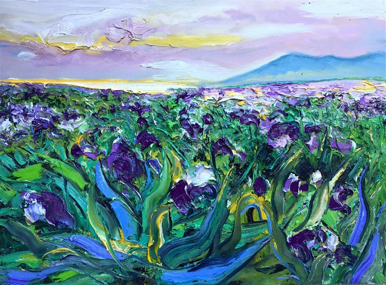 Denis Ribas  Abstract Painting - Iris Filed II original abstract landscape painting