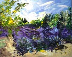 Iris Garden - floral abstract countryside landscape artwork Contemporary