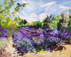 Iris Garden original abstract oil landscape painting Contemporary Art 21st C