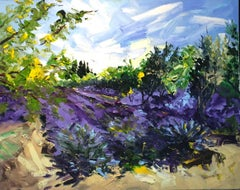 Iris Garden - original abstract oil landscape painting Contemporary Art 21st C