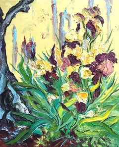 Iris - original abstract floral impasto nature oil painting modern contemporary
