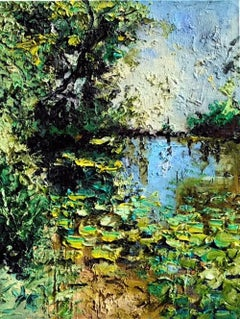 Lake surrounded by Verdure - landscape nature oil painting modern contemporary